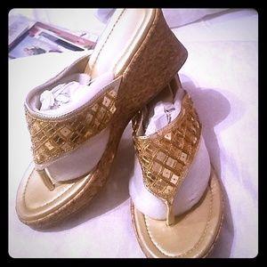 Gold wedges sandals